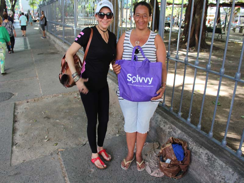 Liliana Presenting to an Homeless Woman