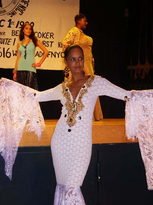 Model wearing Designer outfit 2001